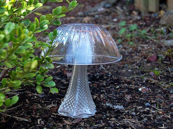 Secret Garden Mushroom Garden Art Crystal Glass Garden Decor Upcycled Shabby Cottage Chic Garden Decor Glass Garden Glass Garden Art Garden Mushrooms