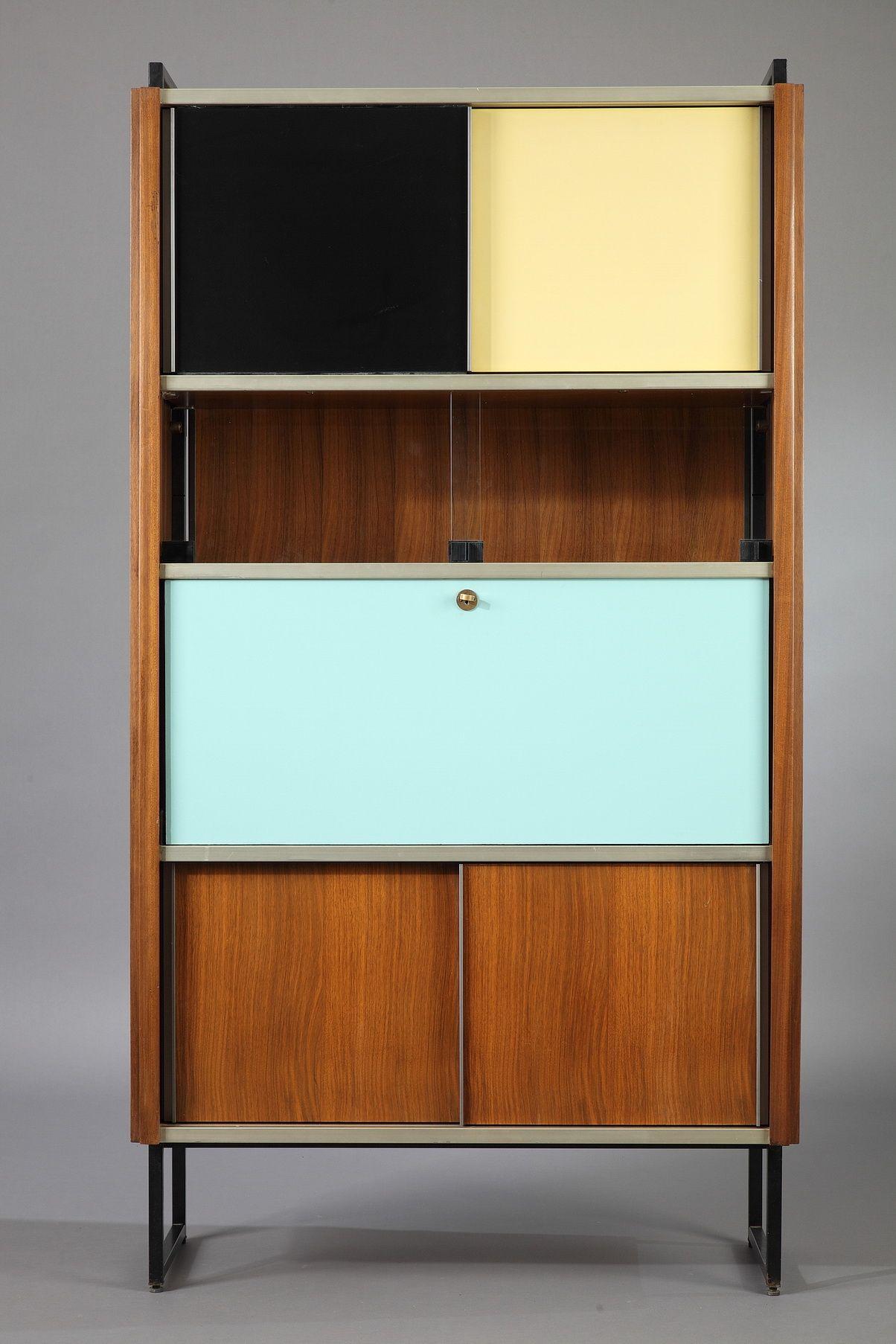 Efa Secretaire Bookcase In Rosewood By Georges Frydman 1955  # Bibliotheque En Vitre Aluminium