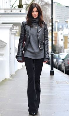 dark gray cowl neck sweater, black leather cropped jacket, flare velvet pants- love this