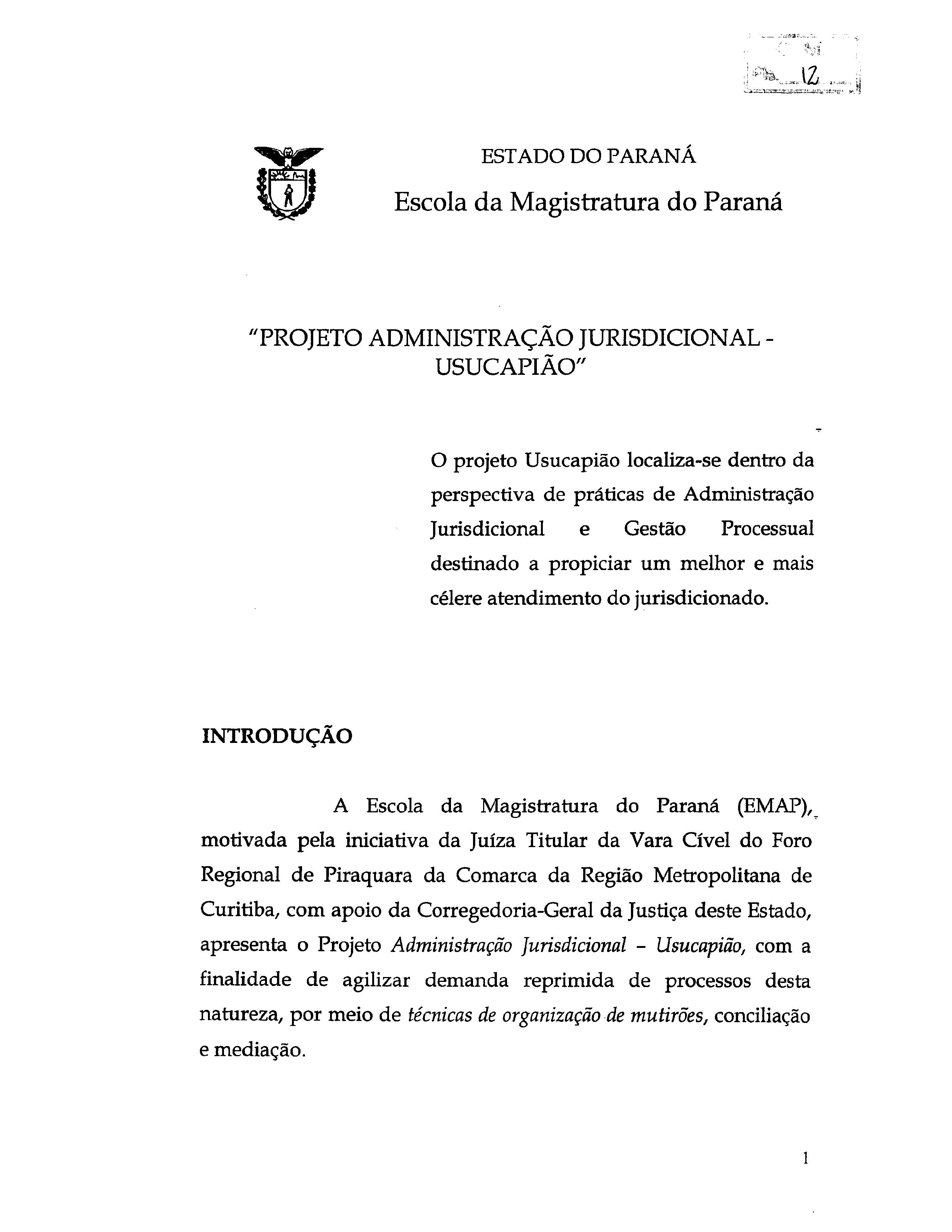 Programa do Projeto de Administração Jurisdicional - Usucapião ...
