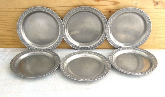 Vintage Bavarian Rein Zinn pewter dishes plates coasters hand