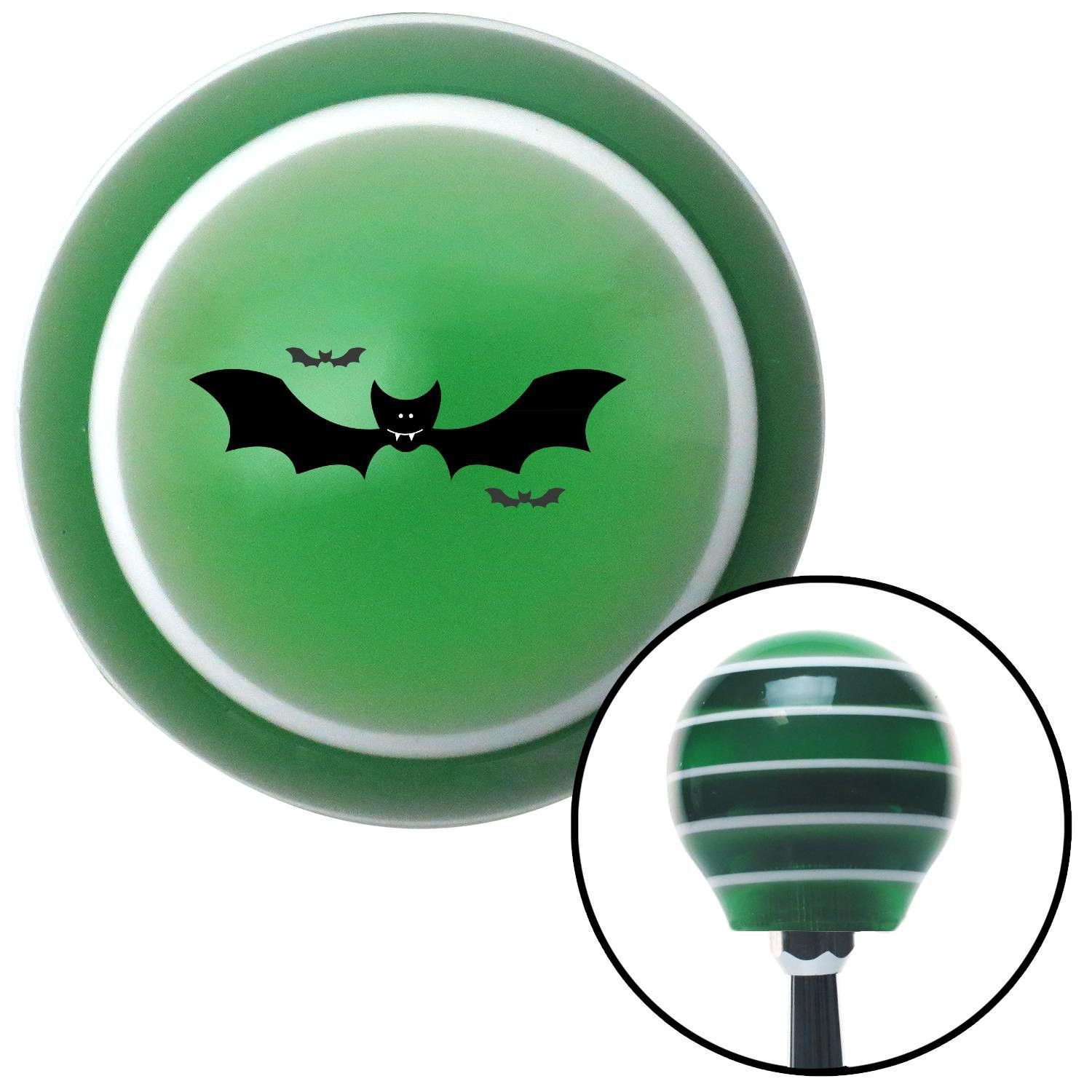Bats Green Stripe Shift Knob with M16 x 15 Insert