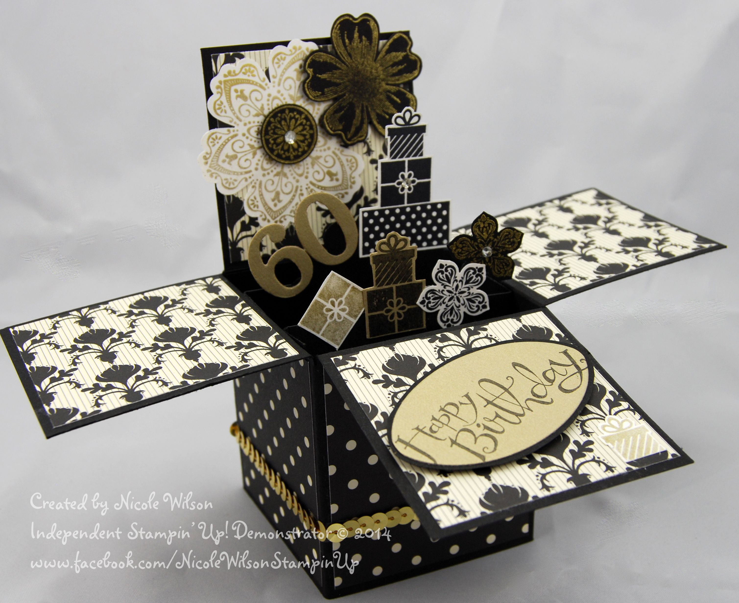 Stampin Up 3D Card in a box 60th birthday card Black and Gold – Boxed Birthday Cards