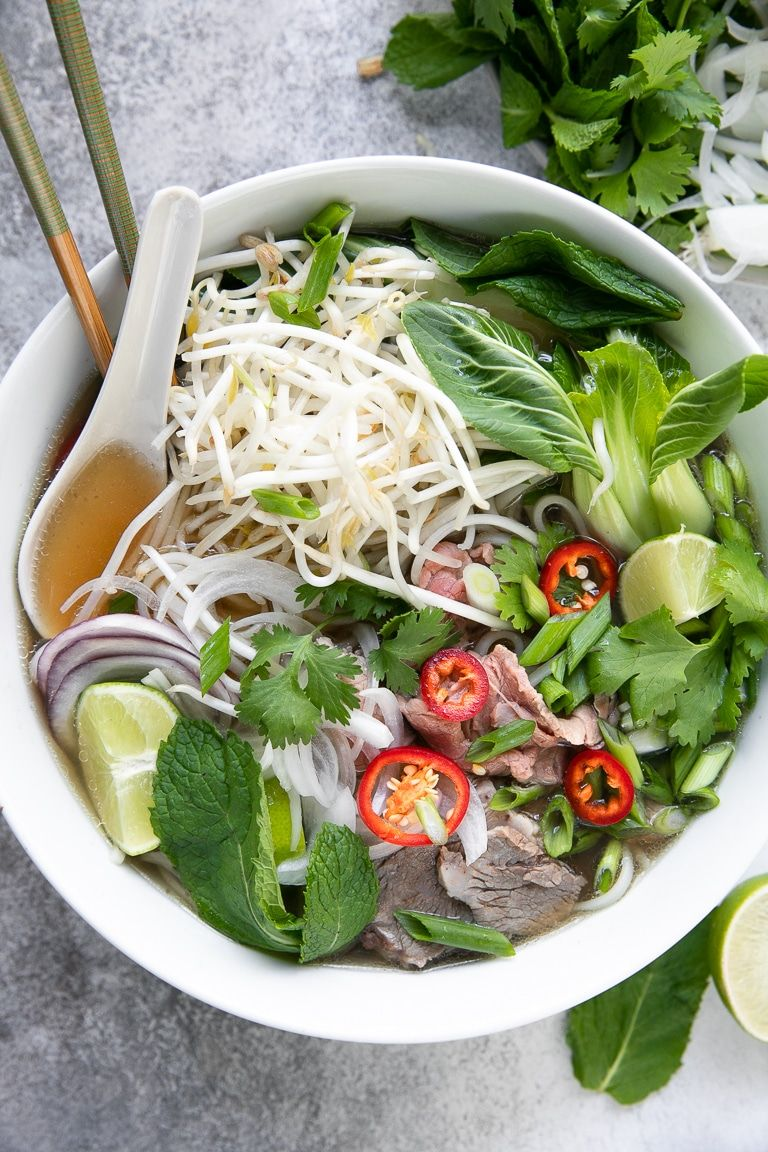 Pho Recipe How To Make Vietnamese Noodle Soup The Forked Spoon Recipe Pho Recipe Sprout Recipes Bean Sprout Recipes