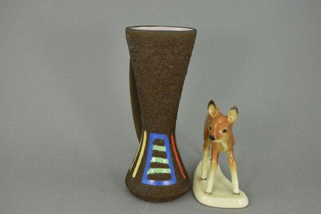 Vintage Vase / Steuler / 4141 2 / braun, bunt / West German Pottery | 60er von ShabbRockRepublic auf Etsy