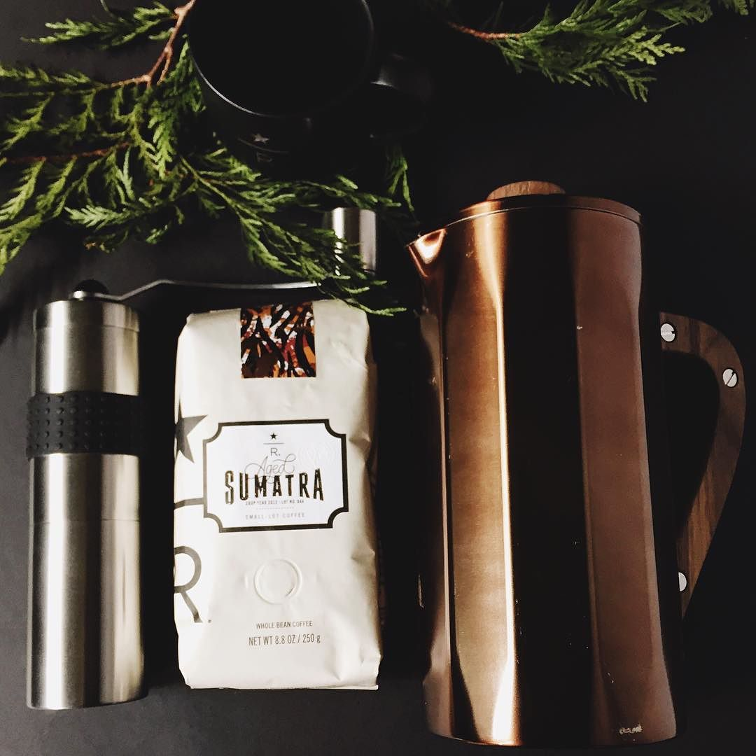 Ground by hand pressed by hand poured by hand. #CoffeeRitual #StarbucksReserve #AgedSumatra #GiftIdeas Link in bio to purchase  by starbucks
