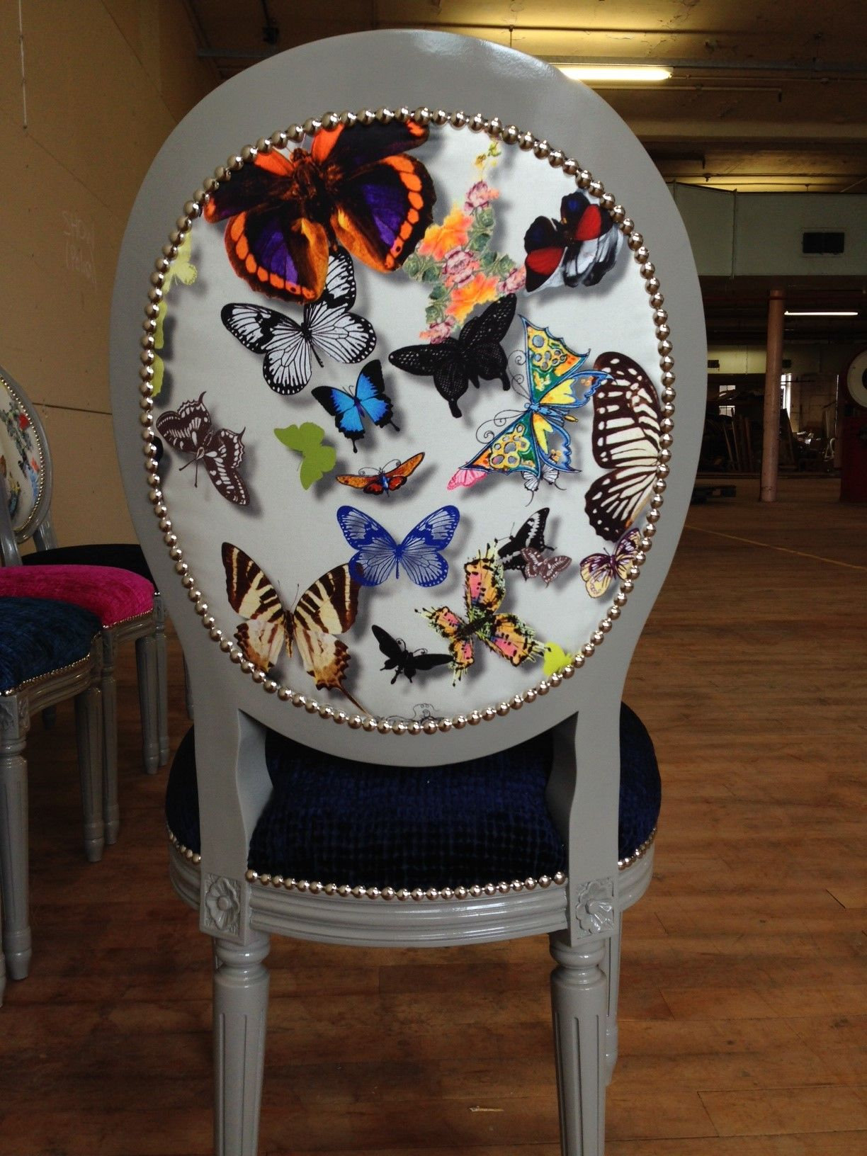 French Oval Dining Chair In Farrow And Ball Moles Breath High Gloss Paint  And Upolstered In