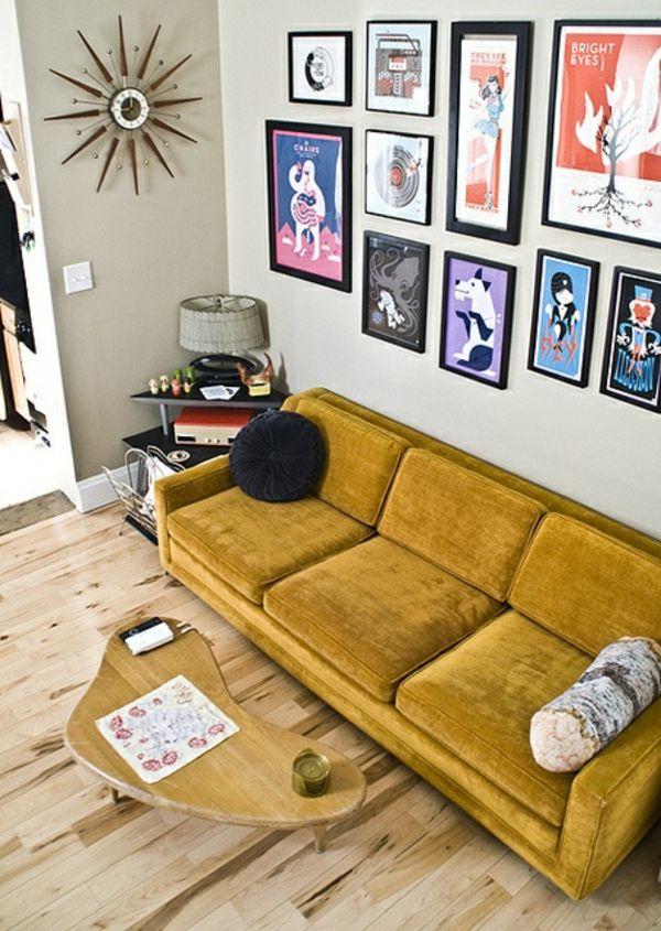 bilder wand wohnzimmer möbel modern trendy gelb polsterung Möbel