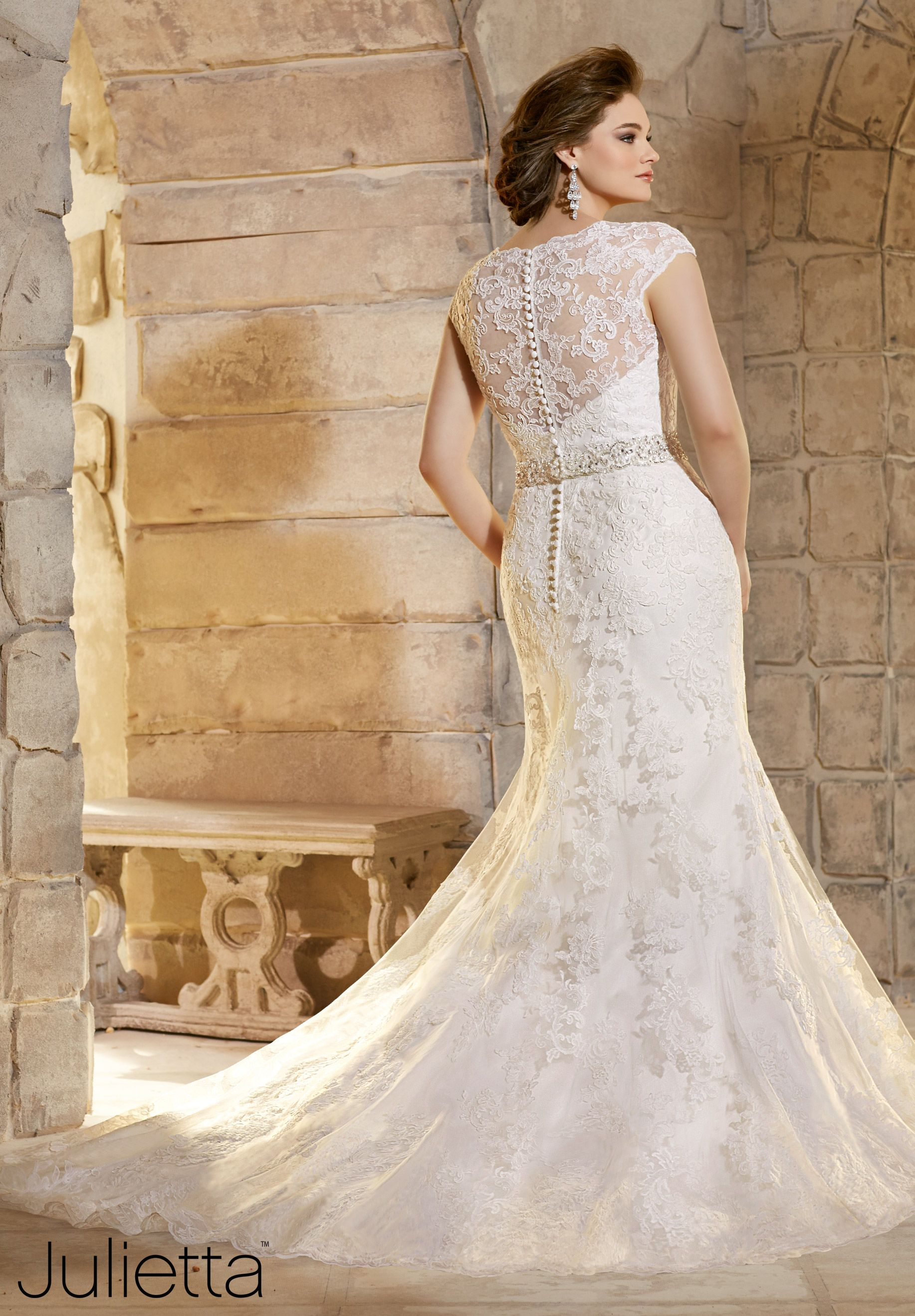 Plus size wedding dress embroidered appliques on net with wide