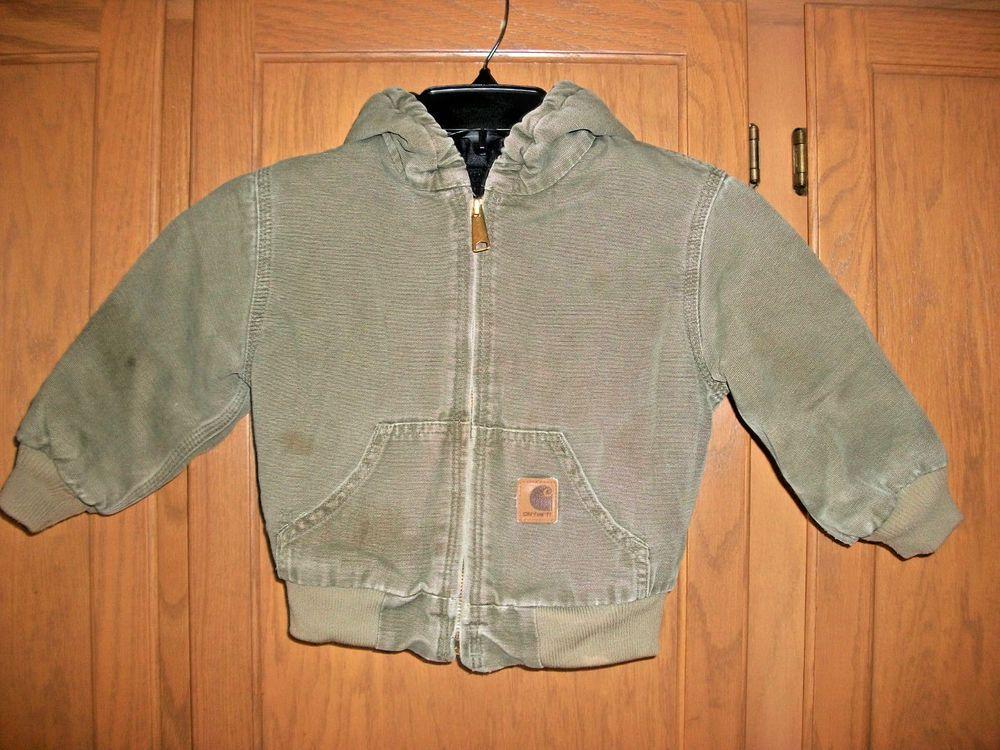 462bead11 Carhartt Coat Jacket Hooded Insulated Lined Coat Boys Girls Toddler ...