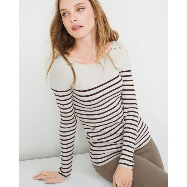 White House Black Market Striped Sweater (233.120 COP) ❤ liked on Polyvore featuring tops, sweaters, white house black market, striped sweater, rayon tops, petite sweaters and stripe sweater