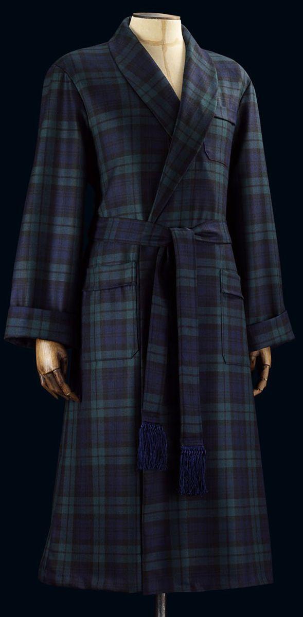 Blackwatch Tartan Wool Bathrobe by Derek Rose | Dressing Gowns ...