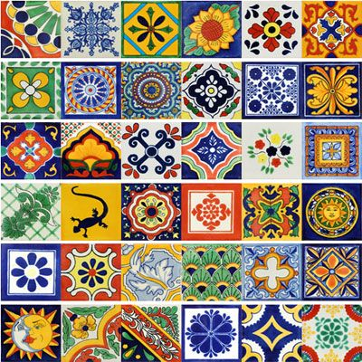Mexican Decorative Tiles Mexican Ceramic Tile Talavera Set Of 40 Size 6 X 6  Backgrounds