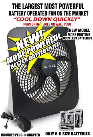 Battery Operated Fan Powered By Batteries Or Ac Power Battery Operated Cool Camping Gadgets Fan