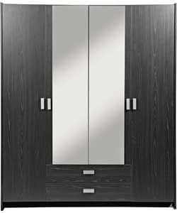 on sale ef782 506eb Capella 4 Door 2 Drawer Mirrored Wardrobe- Black Ash Effect ...
