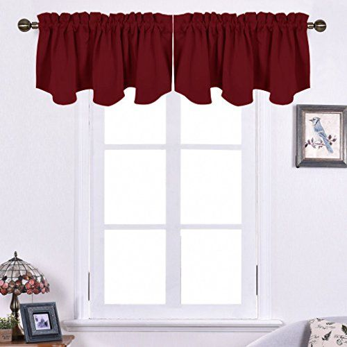 Nicetown Blackout 52inch By 18inch Scalloped Rod Pocket Valance