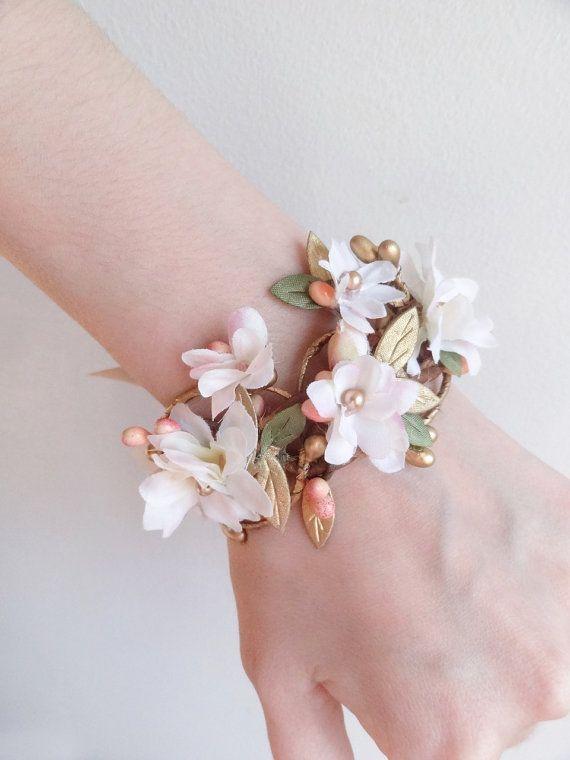Floral Bracelet Pink And Cream Bridal Cuff Bridal