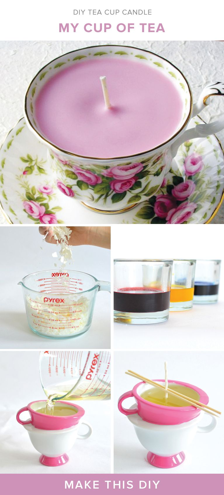 Turn a vintage tea cup into a gorgeous candle