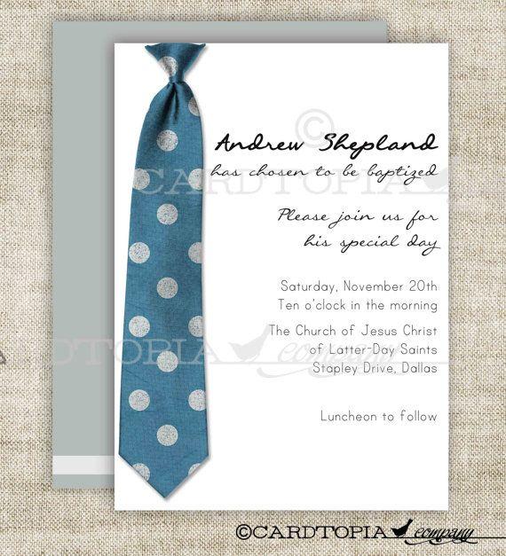 BAPTISM INVITATION LDS Tie Boy Baptism by CardtopiaCompany on Etsy ...