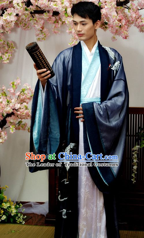6d49dbc90 Chinese Male Crane Hanfu Costume Ancient Costume Traditional Clothing  Traditiional Dress Clothing online