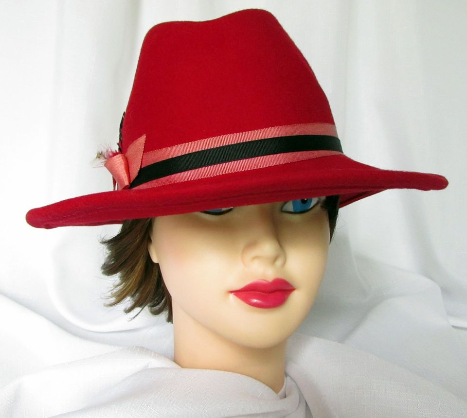 d70a03951c6 Downton Abbey Ladies Red Hat Wool Fedora Womens Fashion Band Feathers  Church FS