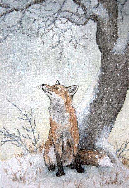 Fox Drawing ... so cute....(print image) #cutefox