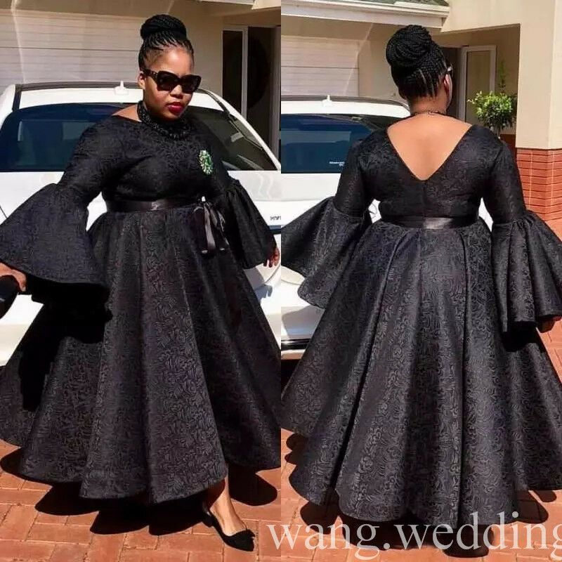 Black African Plus Size Evening Dresses Ankle Length Lace Formal Party Prom Gown African Maxi Dresses Evening Dresses Plus Size African Print Fashion Dresses