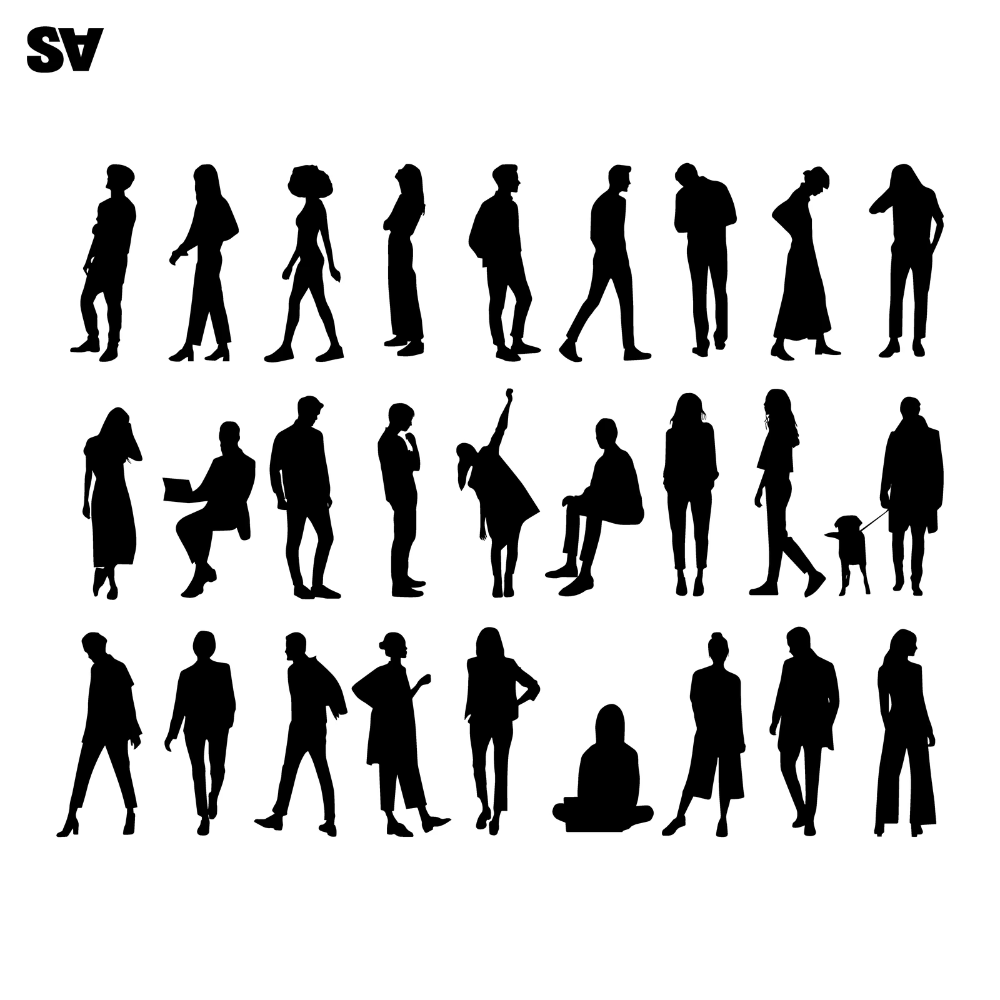 Silhouette Of People In Different Poses Arte Vectorial 165919020 Silhouette People Silhouette Architecture Sketches Of People