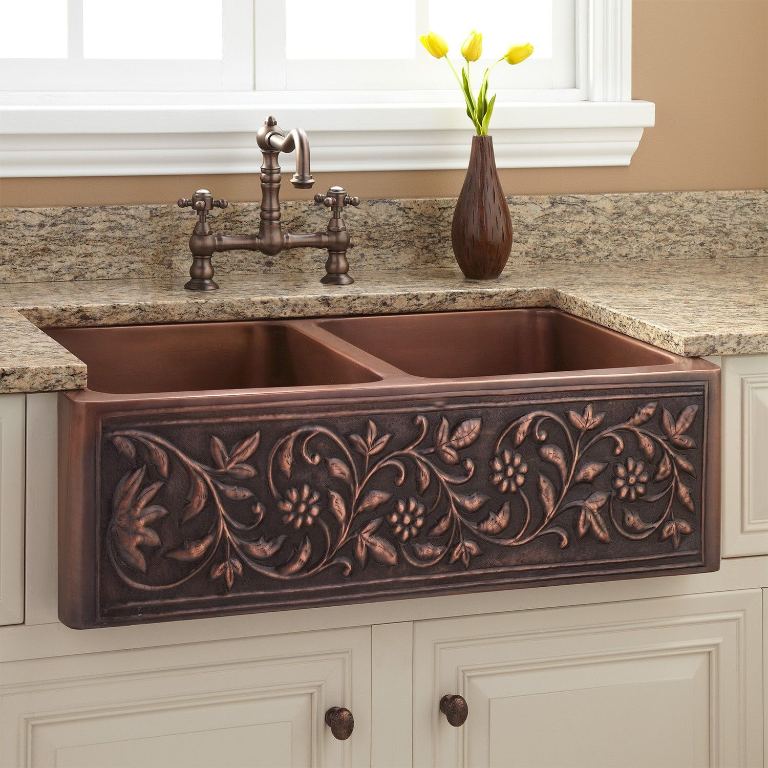 "Old Farmhouse Kitchen Sinks: 36"" Vine Design Double-Bowl Copper Farmhouse Sink"