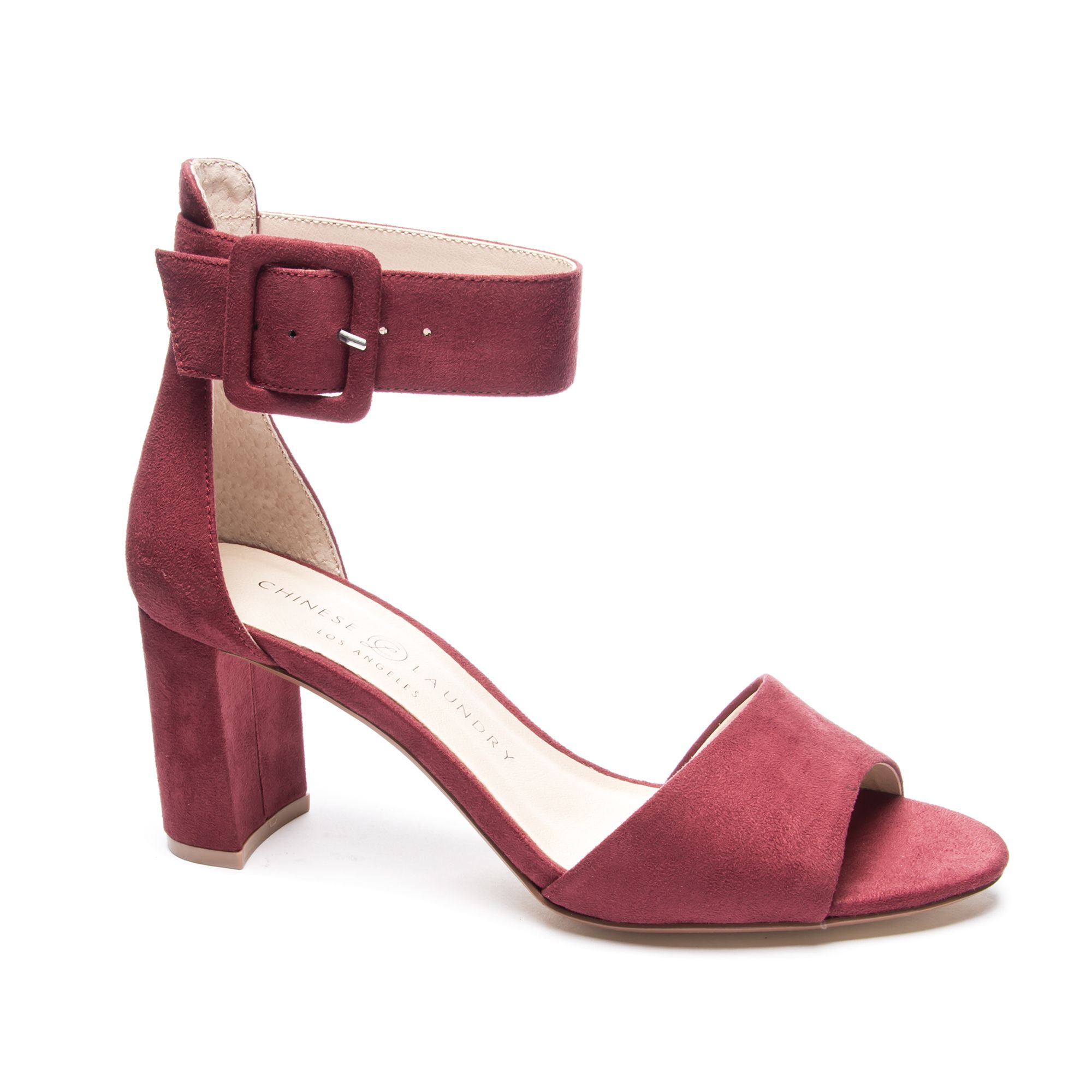 Rumor Suede Ankle Strap Block Heel Sandal Chinese Laundry With