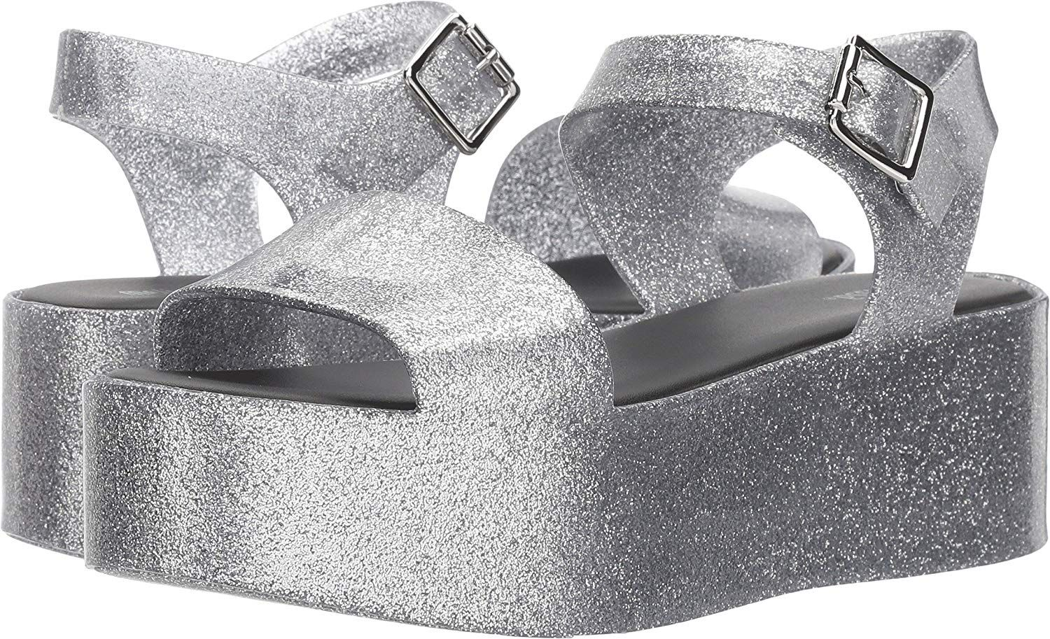 4361c9ba93 Melissa Women's Mar Flatforms. Chunky Melissa platform sandals made from  glitter-covered PVC. Buckle ankle strap. Rubber sole.. Women's Shoes,Sandals  ...