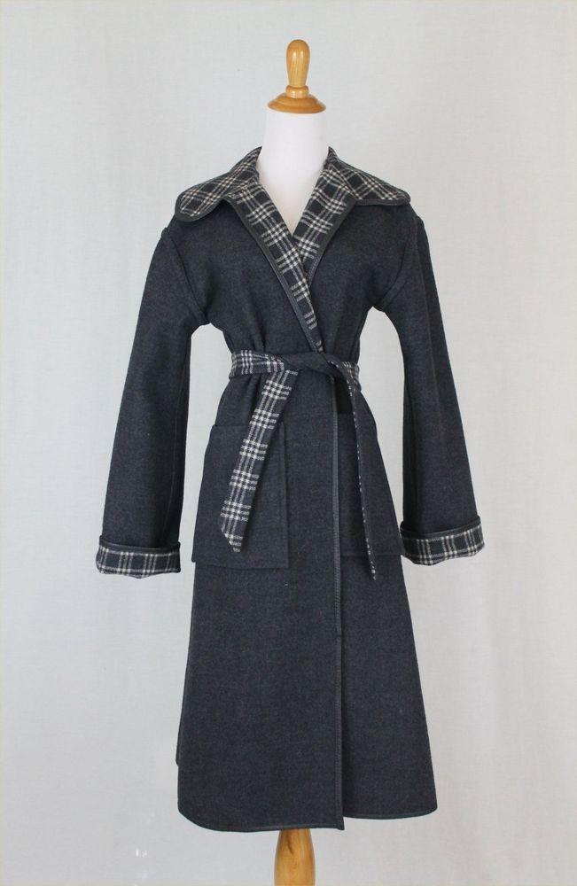 VINTAGE Pendleton Reversible Gray & White Blanket Plaid 100% Wool Dress Coat S #Pendleton #Everyday