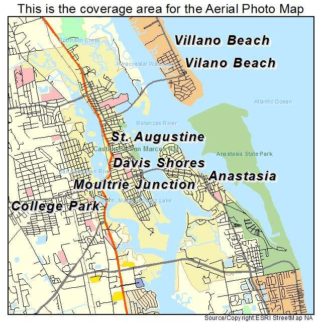 Aerial Photography Map of St Augustine, FL Florida | ST. AUGUSTINE on beaches of st augustine area map, st augustine on map, hotel st. augustine fl map, st. johns county florida map, florida history map, city of st. augustine fl map, lehigh florida map, old st. augustine fl map, sanborn st augustine florida map, red train st augustine map,