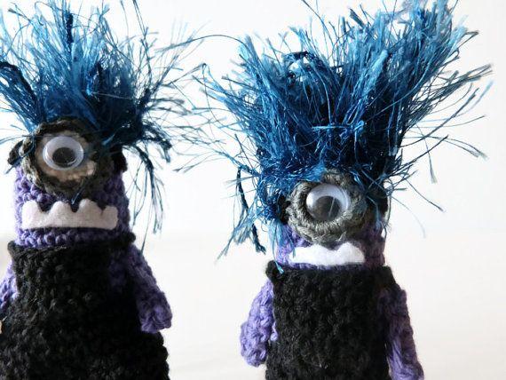 Crazy Minion Key Ring, Crochet Despicable Me 2 Purple Monster Zipper ...