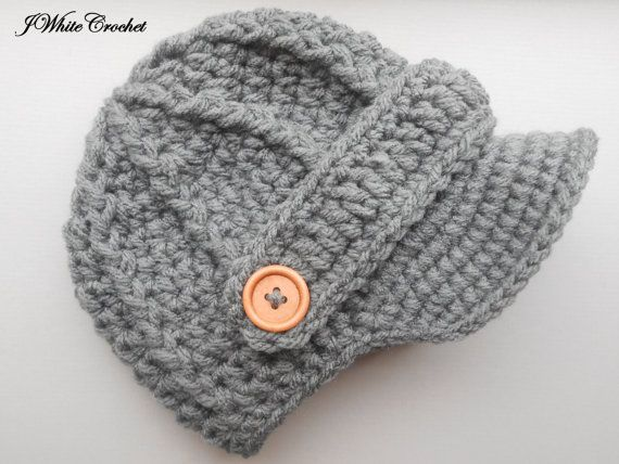 Dark grey Newborn baby hat ,Crochet newsboy hat , crochet baby boy ...