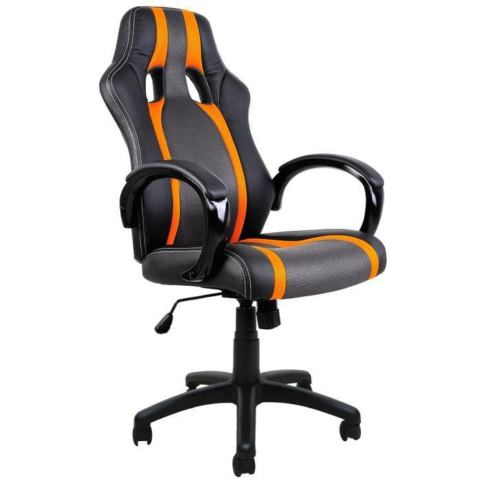 fauteuil bureau gamer chaise de bureau sport fauteuil siege baquet noire grise orange