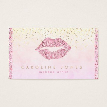 Chic faux pink glitter lipstick kiss makeup artist business card chic faux pink glitter lipstick kiss makeup artist business card faux gifts style sample design reheart Gallery