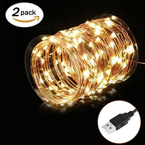 Hictech 2 Pack USB LED Fairy String Lights Copper Wire Lights Waterproof Decorative Copper Rope Lights for Christmas Holiday Party Indoor Outdoor Homes Decor [33Ft Copper Wire, 100 Warm White LED] ** You can find more details at