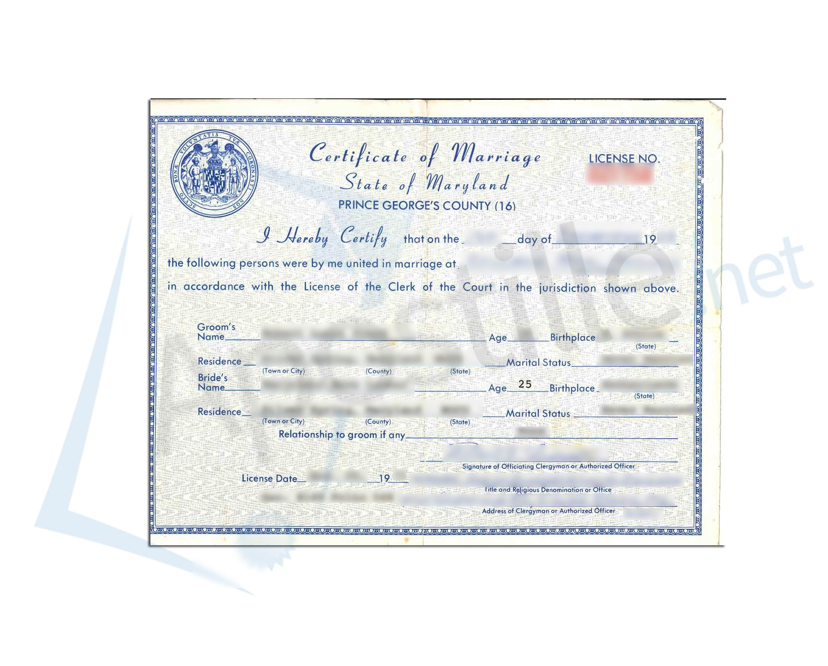 Prince Georges County State Of Maryland Certificate Of Marriage Non