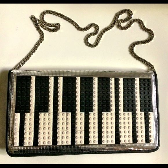 """LES PETIT JOUEURS Piano Lego Disco Clutch Purse Excellent condition, gently used. Limited edition, sold-out and highly sought after. Blogger favorite, as seen on """"it"""" girls around the world. Also a customer favorite due to overwhelming social media praise. Can be used as clutch or purse. Black and white color palette with disco ball-like embellishments--Statement clutch/bag that can be used often and dressed up or down. Looks great with a cocktail dress or even with nice jeans and top for a…"""