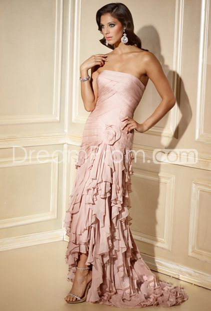 Gorgeous A-Line Strapless Floor-Length Tiered Ball Gown Dresses