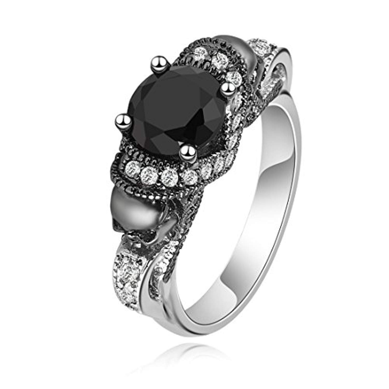 Black cubic zirconia gothic double skull band ring size 6