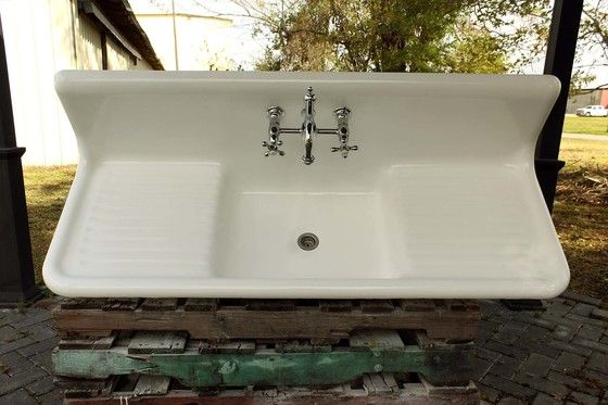 large 1922 refinished farm sink double drainboard high