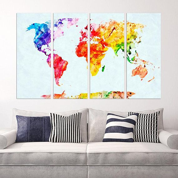 Colorful world map framed home dcor wall art kids room colorful world map framed home dcor wall art gumiabroncs Choice Image