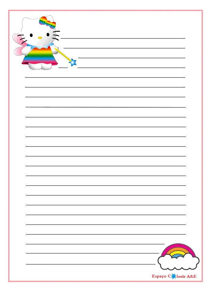 \ portal and paper letter- hello kitty17 Printable Stationery - letter writing paper template
