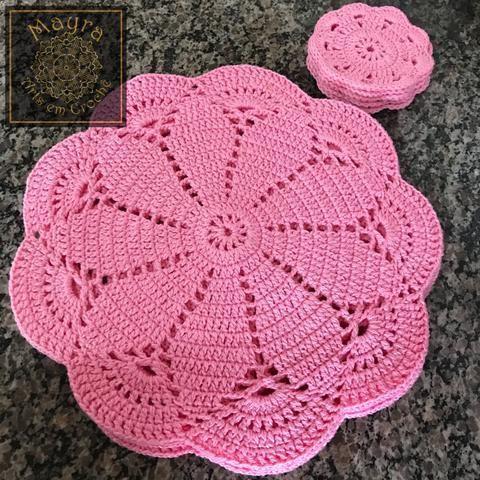 Jogo De Sousplat Em Croche Sousplat Croche Fazer Croche Souplat De Croche