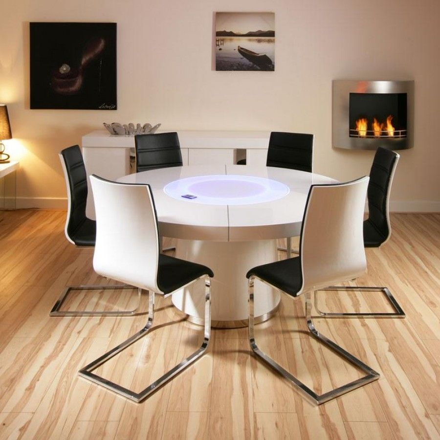 Lovely Big White High Gloss Round Dining Table With 6 Black And