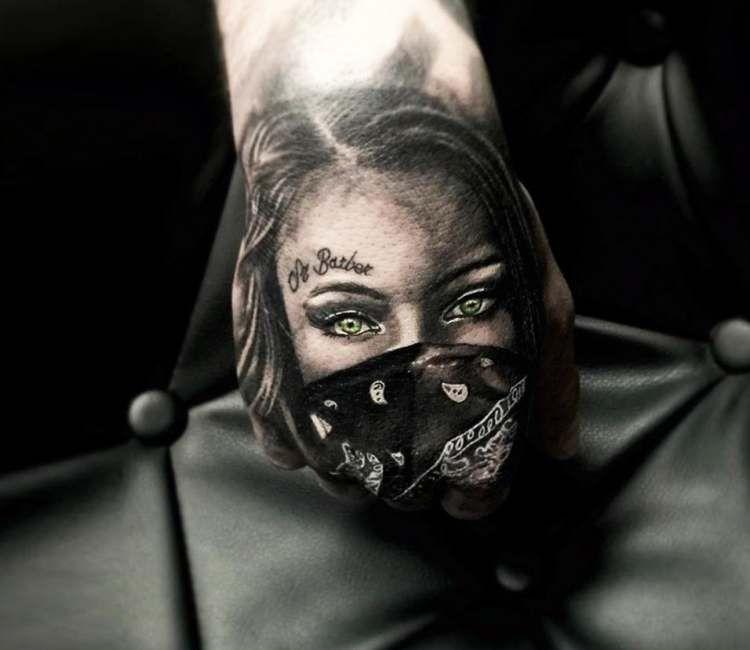 Gangsta Girl Tattoo By Alex Legaza Girl Face Tattoo Girl