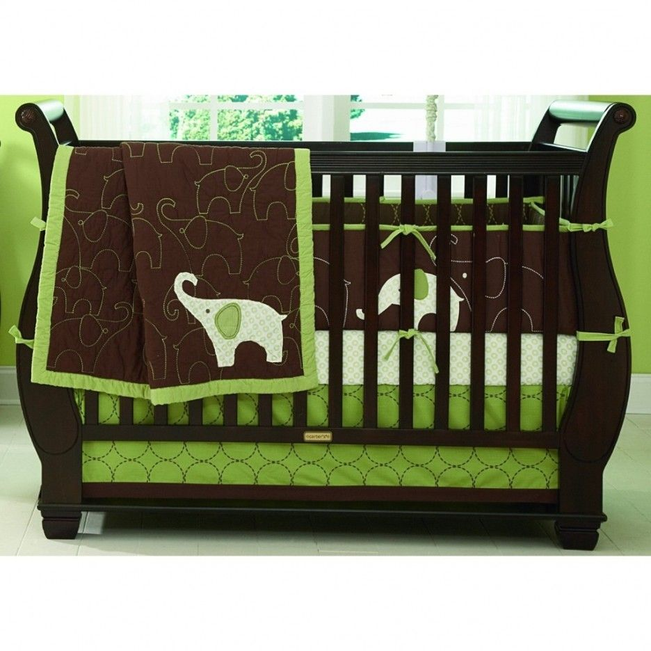 Baby cribs green - Charming Wooden Baby Crib Interior Design Gray Laminated Floor Green Wall Dark Brown Laminated Wooden Baby