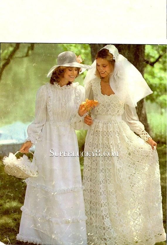 2 vintage wedding dresses PDF pattern , crocheted wedding dress and ...
